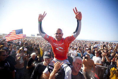 QUIKSILVER'S KELLY SLATER WINS 11TH ASP WORLD TITLE TODAY AT THE RIP CURL PRO SEARCH SAN FRANCISCO.  (PRNewsFoto/Quiksilver Inc, Steve Sherman)