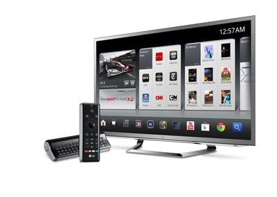 LG Google TV with remote.  (PRNewsFoto/LG Electronics USA)