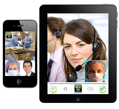 The SpotOn model provides a tablet-based portal in patient care areas and enables secure video conferencing with supplier reps and support personnel.  (PRNewsFoto/SpotOn Surgical)
