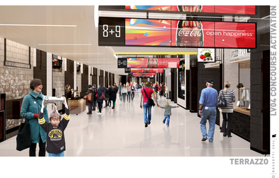 The Delaware North Companies $70 million renovation of TD Garden in Boston includes a complete overhaul of levels 4 and 7 that will touch every aspect of the fan experience, including infrastructure to support high-density wifi, redesigned concourse hospitality zones and concession stands and updated food and beverage concepts. More than 12,000 square feet of reconfigured common space will provide a place for fans to socialize and dine. Delaware North Companies Sportservice, the arena's food and beverage services and retail management company, will also add 25 new portable food and beverage carts. (PRNewsFoto/Delaware North Companies)