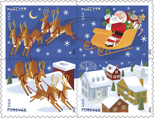 "St. Nick begins navigating the nation's mail stream tomorrow to the tune of 750 million Santa and Sleigh Forever stamps. The stamp art was inspired by the 1823 poem by Clement C. Moore, ""A Visit from St. Nicholas,"" also known as ""The Night Before Christmas"" or ""Twas the Night Before Christmas."" Available nationwide Saturday, Oct. 13, in booklets of 20, the stamps can be purchased online at usps.com/shop or by calling 800-STAMP-24 (800-782-6724).  (PRNewsFoto/U.S. Postal Service)"