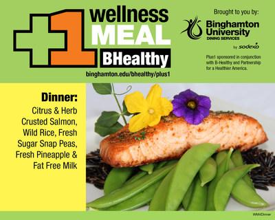 B-Healthy Wellness Meal at Binghamton University - Citrus and Herb Crusted Salmon, Wild Rice, Fresh Sugar Snap Peas, Fresh Pineapple and Fat Free Milk