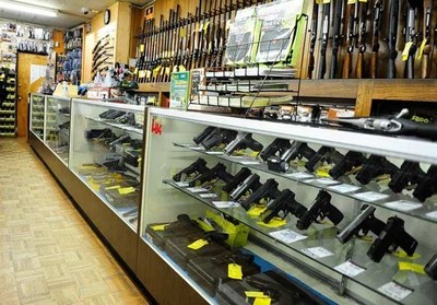 Firearms on display at Martin B. Retting, a gun dealer located in Culver City, California.