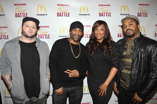 2014 McDonald's Flavor Battle judges (l-r) DeeJay Element, DJ Clue, DJ Spinderella and Just Blaze. The judges were tasked with critiquing, scoring and ultimately deciding the champion among finalists DJ Niena Drake of Chicago, DJ R-Tistic of Los Angeles and DJ Erika B of Newport News, VA. Once scores were tallied, DJ R-Tistic was named the 2014 champion. McDonald's Flavor Battle is a national online DJ competition that showcases some of America's hottest up-and-coming mix-masters. Watch the rebroadcast of the finale any time until March 30 on FlavorBattle.com. Photo credit: Soul Brother.(PRNewsFoto/McDonald's) (PRNewsFoto/MCDONALD'S)