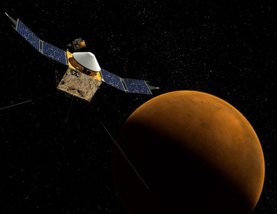 Concept of MAVEN Spacecraft in Martian orbit. The spacecraft's Thermal Protection System (TPS) can be seen it this rendering. The gold material surrounding the spacecraft is multi-layer insulation or MLI and consists of lightweight reflective films assembled in many thin layers. (PRNewsFoto/DUNMORE Corporation, NASA's Goddard Spa) (PRNewsFoto/DUNMORE CORPORATION)
