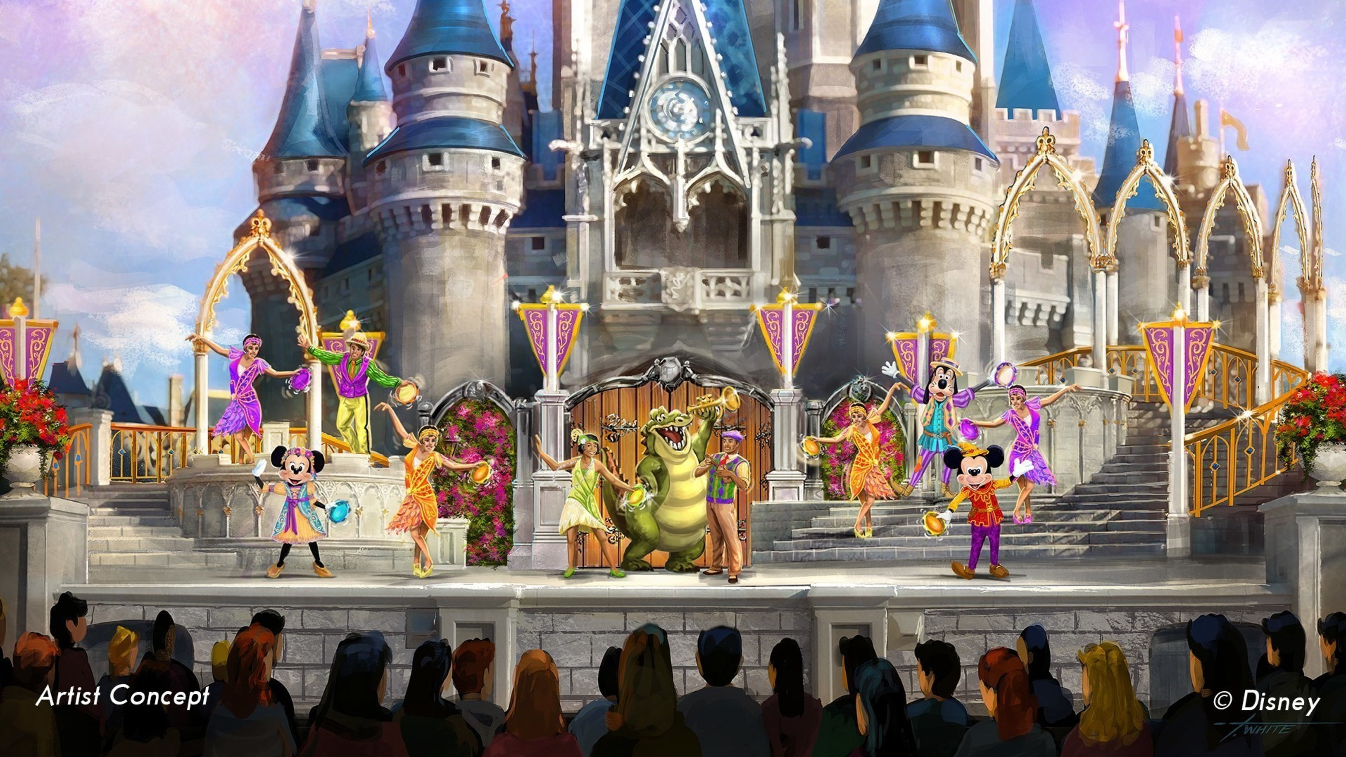 """For the first time, modern Disney characters Tiana of """"Princess and the Frog,"""" and Rapunzel of """"Tangled,"""" co-star with Anna and Elsa of """"Frozen,"""" and a host of classic characters in the new Mickey's Royal Friendship Faire.  Performed on the grandest stage in the kingdom, the star-studded tale of friendship presents Mickey Mouse and his troupe of Merry Makers - Minnie Mouse, Donald, Daisy and Goofy - who invite 10 new friends from different animated worlds to join the celebration.  (Disney)"""