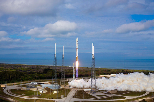 Cape Canaveral Air Force Station, Fla. (Dec. 11, 2012) - A United Launch Alliance Atlas V rocket blasts off ...