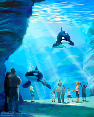 SeaWorld's new killer whale environment will feature an underwater viewing gallery that is 40 feet high. Depth of the new habitat will be 50 feet. (PRNewsFoto/SeaWorld Entertainment, Inc.)