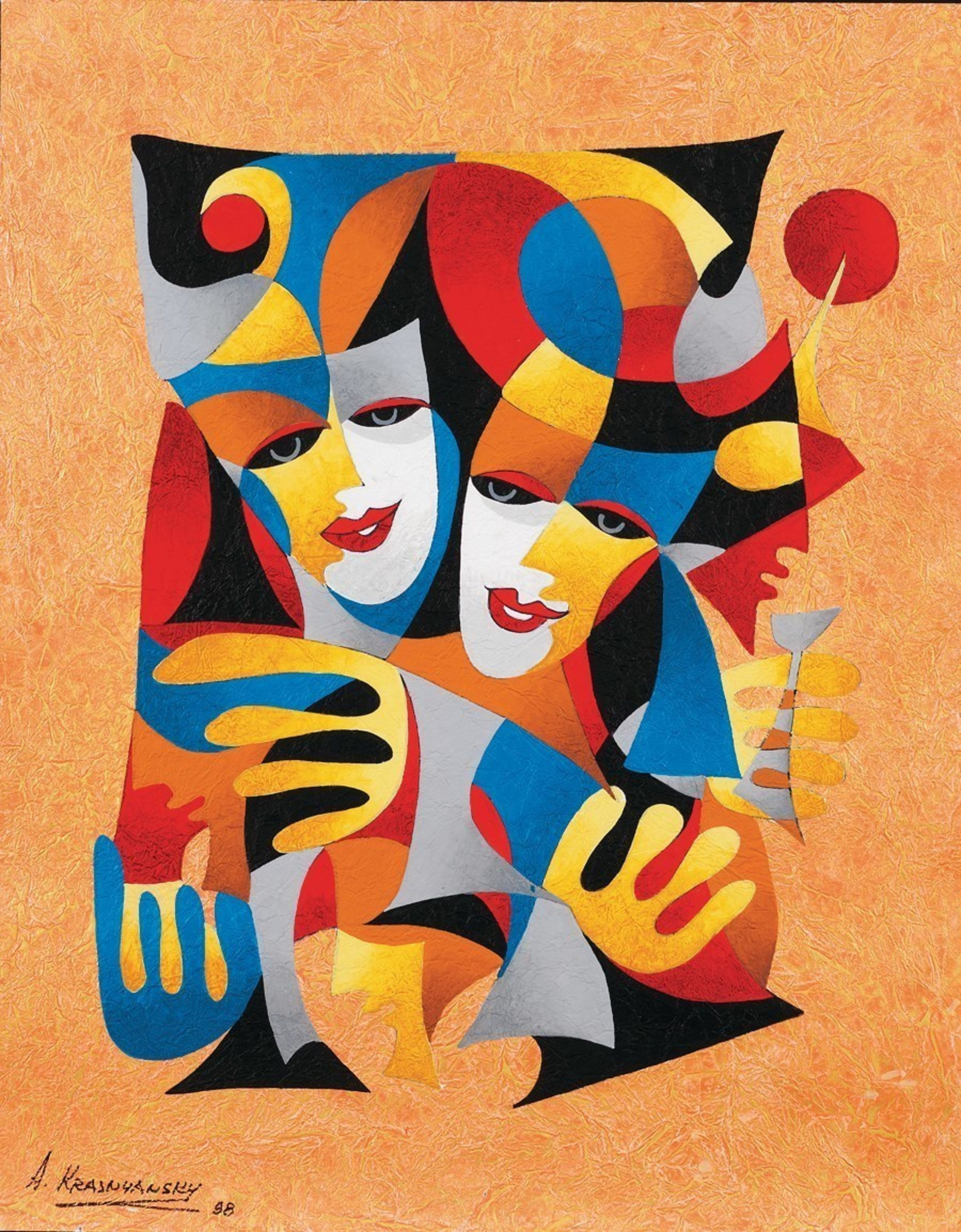 """""""Two Masks"""" (1998), by Anatole Krasnyansky. Watercolor and acrylic painting on handmade Japanese paper."""