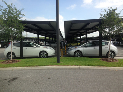 Two cars charge at the new FastCharge stations in Orlando.  (PRNewsFoto/Fast Park)
