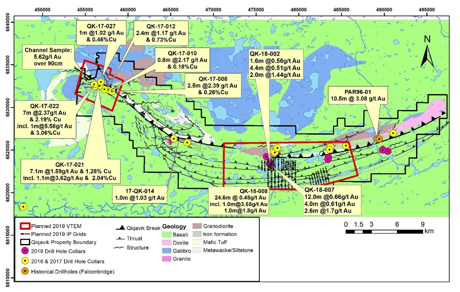 Figure 2: 2016-2018 Significant Drilling Results and Planned Geophysical Survey Coverage Area on the Qiqavik Property