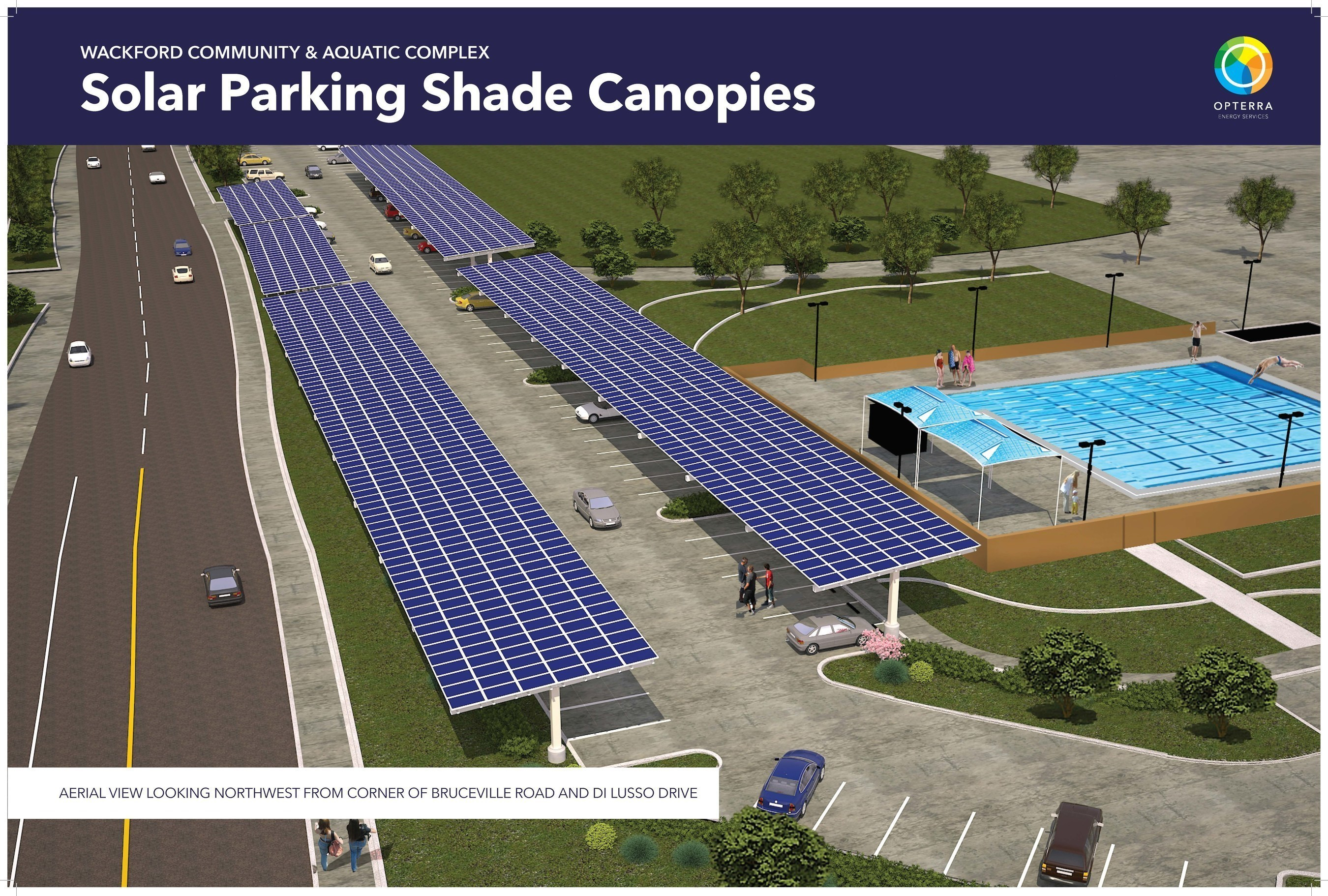 Rendering of one of the solar parking shade structures Cosumnes CSD will begin implementation on with OpTerra in fall 2016.
