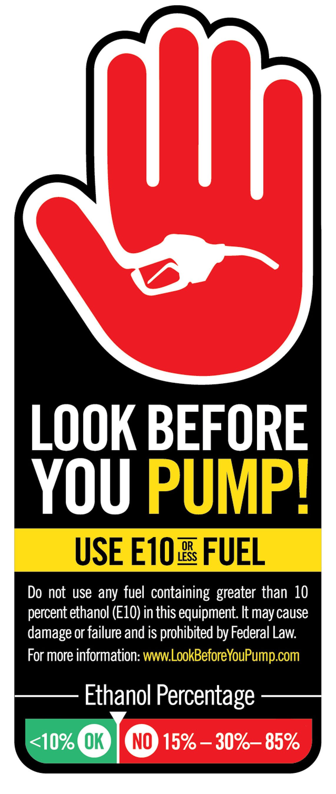 Consumers cautioned to 'Look Before You Pump' at Gas Station. Ethanol education and consumer protection campaign from the Outdoor Power Equipment Institute reminds consumers that it is harmful and illegal to use higher than 10 percent ethanol gas in any outdoor power equipment, such as mowers, chain saws, snow throwers, UTVs, generators and other small engine products. Kris Kiser of OPEI says 'Don't assume that the gas you put in your car can still go in your mower, chain saw or generator.' Remember to 'Look Before You Pump!'.