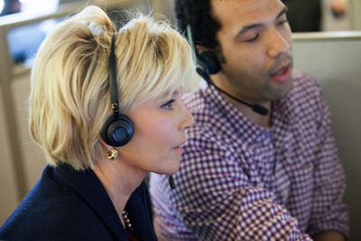 Joan Lunden, an award-winning journalist and longest running host of Good Morning America, partakes in a call with a family in need of senior care at the A Place for Mom  headquarters in Seattle. Lunden has partnered with A Place for Mom, the nation's leading senior referral service, to help educate and prepare families for the process of finding senior housing and care for their aging loved ones.  (PRNewsFoto/A Place for Mom)