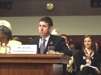 Ryan Kules, national alumni director at Wounded Warrior Project, testifies before the Joint Committees on Veterans Affairs on Capitol Hill today.