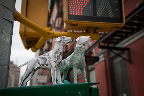 Two paper dogs hit New York streets as hundreds of the sculptures arrive in the city for NYCxDesign.