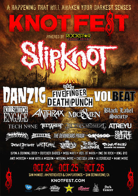 Slipknot's Legendary Knotfest Returns to the U.S. Friday, Oct. 24 through Sunday, Oct. 26