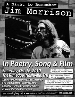 Poster for Night to Remember Jim Morrison.  (PRNewsFoto/Dawn's Highway)