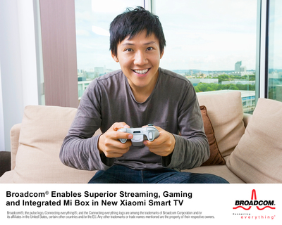 Broadcom(r) 5G WiFi Combo Chip Enables Superior Streaming, Gaming and Integrated Mi Box in New Xiaomi 4K Smart TV (PRNewsFoto/Broadcom Corporation)