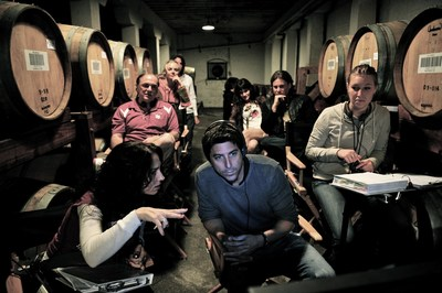 Writer/Director Tedi Sarafian works with his crew on the set of supernatural thriller, ALTERGEIST, in the barrel room of Korbel Champagne Cellars.
