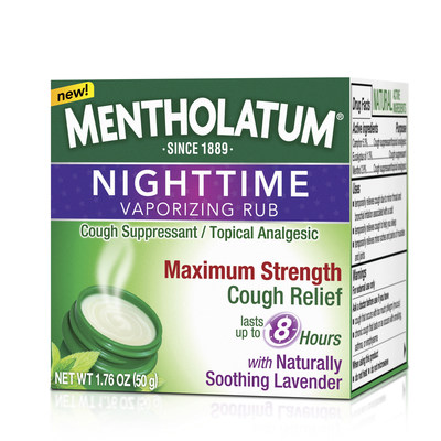 Mentholatum Nighttime Vaporizing Rub soothes coughs for up to 8 hours with naturally soothing lavender. (PRNewsFoto/The Mentholatum Company)