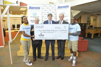 Aaron's, Inc. on Monday announced a three-year, $5 million partnership with Boys & Girls Clubs of America. Pictured Left to Right:  Keyanta Embden, Keystone Club teen; Sam Olens, Attorney General of Georgia; John Robinson, CEO of Aaron's; Robbie Kamerschen, General Counsel of Aaron's; and Dequayvious Mosely, Keystone Club teen member.