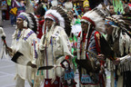 "The Gathering of Nations, the world's largest gathering of Native American and indigenous people, takes place in Albuquerque, New Mexico between April 24 and 26, 2014.  During the ""Grand Entry,"" thousands of Native American dancers simultaneously enter University of New Mexico University Arena dressed in colorful regalia to the sounds of beating drums.  (PRNewsFoto/Gathering of Nations)"