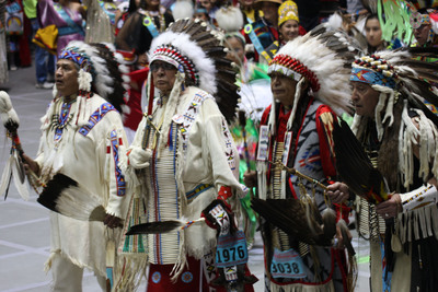 "The Gathering of Nations, the world's largest gathering of Native American and indigenous people, takes place in Albuquerque, New Mexico between April 24 and 26, 2014.  During the ""Grand Entry,"" thousands of Native American dancers simultaneously enter University of New Mexico University Arena dressed in colorful regalia to the sounds of beating drums."