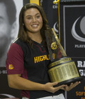 Rachel Garcia, of Highland High School, holds the trophy during a press conference after being named the 2014-15 Gatorade National Softball Player of the Year, Thursday, June 18, 2015 in Palmdale, Calif. The award recognizes outstanding athletic excellence as well as high standards of academic achievement and exemplary character demonstrated on and off the field. Garcia was surprised with the news by two-time Gold Medalist and former UCLA Bruin Stacey Nuveman. Photo/Gatorade, Susan Goldman, handout.