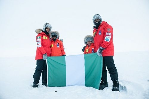 Amazu Family: The first Nigerians to reach the geographic North Pole. (PRNewsFoto/Challenge 100)