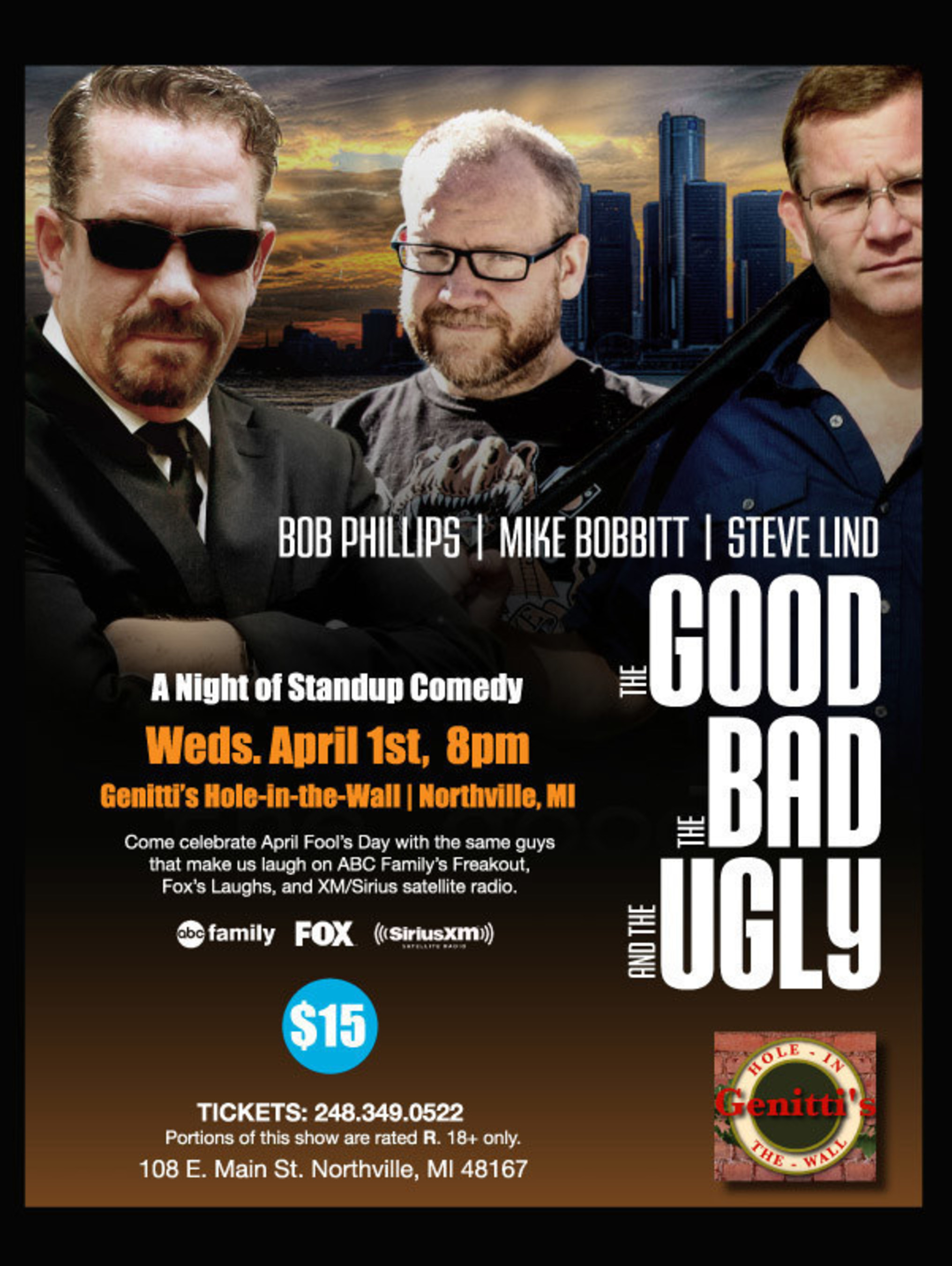 Genitti's of Northville Announces a Triple Dose of Comedy on April 1st With The Good, The Bad, and The Ugly