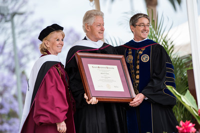 President Bill Clinton with Kathleen Hannon Aikenhead, chair of LMU's Board of Trustees; and LMU President Timothy Law Snyder, Ph.D.