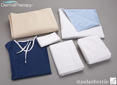 With two U.S. patents (US 7,816,288 and US 8,283,267) and two pending patents, the DermaTherapy(R) system is comprised of a pillowcase, top flat sheet, bottom fitted sheet and underpad, all developed in partnership between Standard Textile Co., Inc. and Precision Fabrics Group. DermaTherapy is a registered trademark of Precision Fabrics Group, Inc.