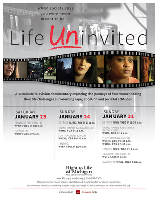 Channels and show times for the new TV documentary Life Uninvited.