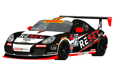 The RESET-MD Porsche, driven by Jack Baldwin (#73) and Buz McCall (#72) of GTSport Racing will be unveiled at the first race of the 2014 Pirelli World Challenge, March 28-30 in St. Petersburg, Fla.  (PRNewsFoto/BACAS Interventional Pain Management)