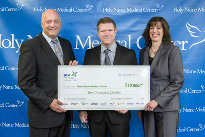 Miriam Stiefel, Director of Just Energy's National Affinity Program (Right) with Shon Prejean, National Affinity Sales Director, presenting a $10,000 donation to Michael Maron, President and CEO, Holy Name Medical Center (Far left).