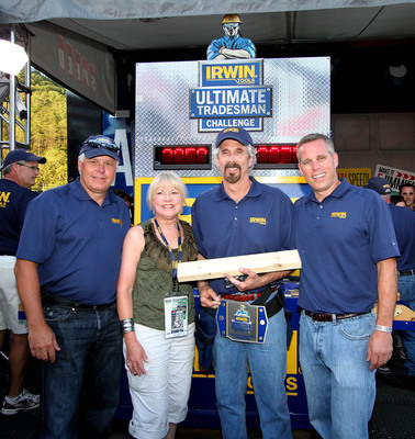 From left to right: Neil Eibeler (President of IRWIN Tools), Pamela Thornton (wife of Delwyn Thornton), Delwyn Thornton (2010 IRWIN Tools Ultimate Tradesman Challenge North American Champion), Curt Rahilly (IRWIN Tools Vice President of Marketing).  (PRNewsFoto/IRWIN Tools, Tami Kelly Pope)