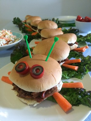 Making BBQ Caterpillar sandwiches, like this one from Farm Rich, is just one fun way to get kids eating wholesome and filling snacks after school or any time.