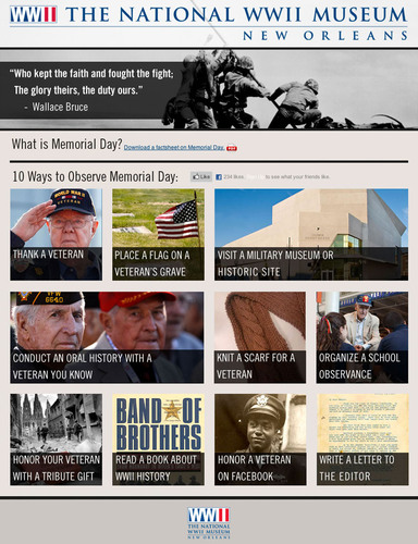 Visitors to www.mymemorialday.org can get ideas from The National WWII Museum in New Orleans on how to observe the day in their communities.  (PRNewsFoto/The National WWII Museum in New Orleans)