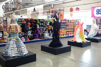 Four fashion inspired designs featuring Food Packaging, Halloween, Household Supplies and Party Supplies are on display at the 99 Cents Only Store in West LA.