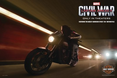 """""""Team Captain America"""" member -- Winter Soldier riding a one-of-a-kind Harley-Davidson Street 750 customized for Marvel's """"Captain America: Civil War."""""""
