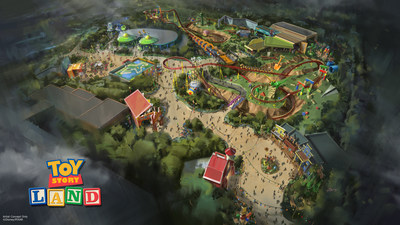 The reimagining of Disney's Hollywood Studios will take guests to infinity and beyond, allowing them to step into the worlds of their favorite films, starting with Toy Story Land. This new 11-acre land will transport guests into Andy's backyard. Guests will think they've been shrunk to the size of Woody and Buzz as they are surrounded by oversized toys that Andy has assembled. Using toys like building blocks, plastic buckets, and game board pieces, Andy has designed the perfect setting for this land, which will include two new attractions for any Disney park and one expanded favorite. (Disney Parks)