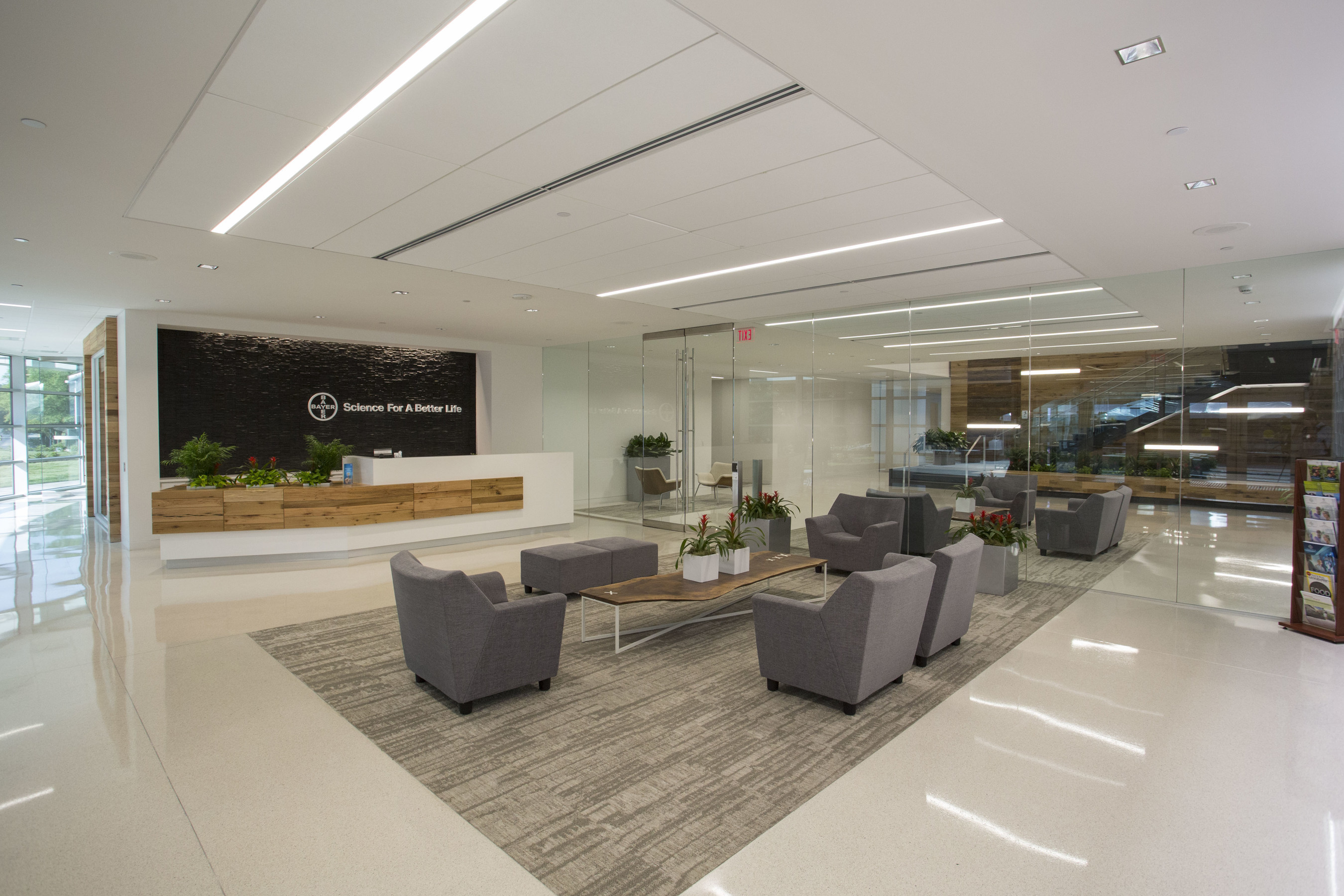 The newly renovated Bayer CropScience headquarters boasts a modern and open design where employees have the resources and space to work efficiently, as well as amenities further enhancing Bayer's reputation as one of the Triangle's best places to work.