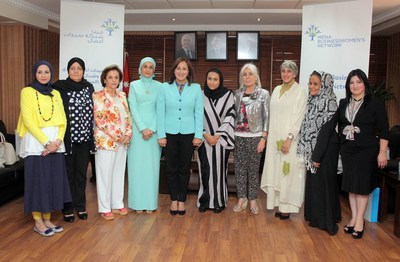 A group photo for the Board Members of the MENA Businesswomen's Network (PRNewsFoto/Amman Chamber of Commerce)