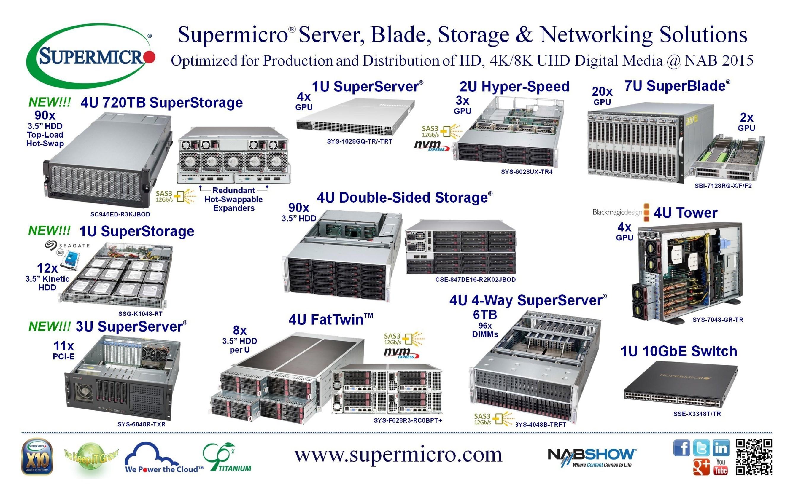 Supermicro® debutta con una nuova piattaforma JBOD SAS3 12Gb/s SuperStorage® da 720TB 4U da 90