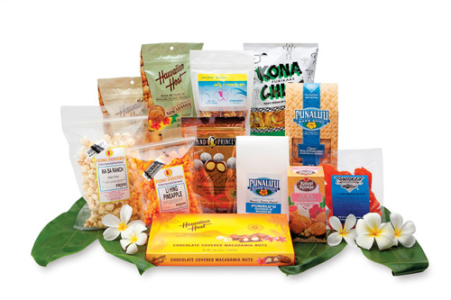 Hawaiian offers customers a variety of delicious made-in-Hawaii snacks to purchase for their enjoyment on flights between North America and Hawaii.  (PRNewsFoto/Hawaiian Airlines)