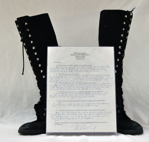 Omaha - Boots worn by author JK Rowling as she penned the first book of her best-selling Harry Potter series ...