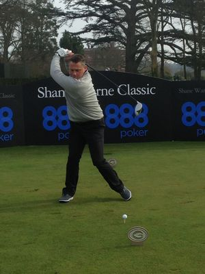 Darren Swing – Darren Gough trades his skis for golf clubs as he lines up for  drive at the Shane Warne Golf Classic.