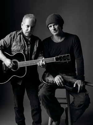 """Paul Simon and Sting captured at the studio where they rehearsed for their upcoming """"On Stage Together"""" tour, launching this Saturday, February 8 in Houston. The two will blend their voices nightly for many of their best-known and most beloved songs, as well as perform individual sets with their respective bands. These 21 North American dates with two of music's most iconic singer/songwriters is an event you won't want to miss. For additional tour details, please visit: www.simonandstingtour.com. (PRNewsFoto/Live Nation, Mark Seliger)"""