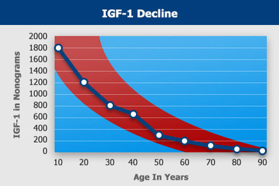 Studies have shown our natural IGF-1 levels decline as we age.  (PRNewsFoto/Nutronics Labs)